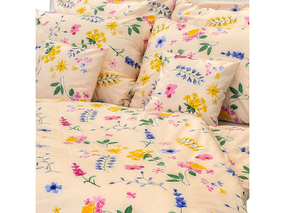 Luxusné bavlnené obliečky Flóra marhuľová 140x200/70x90 cm